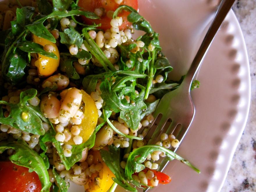 israeli couscous salad and arugula salad (gingerandjam.com)